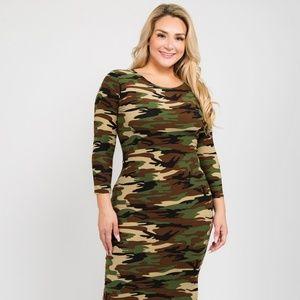 Camouflage print on a bodycon fit Dress 3X 2X 1X
